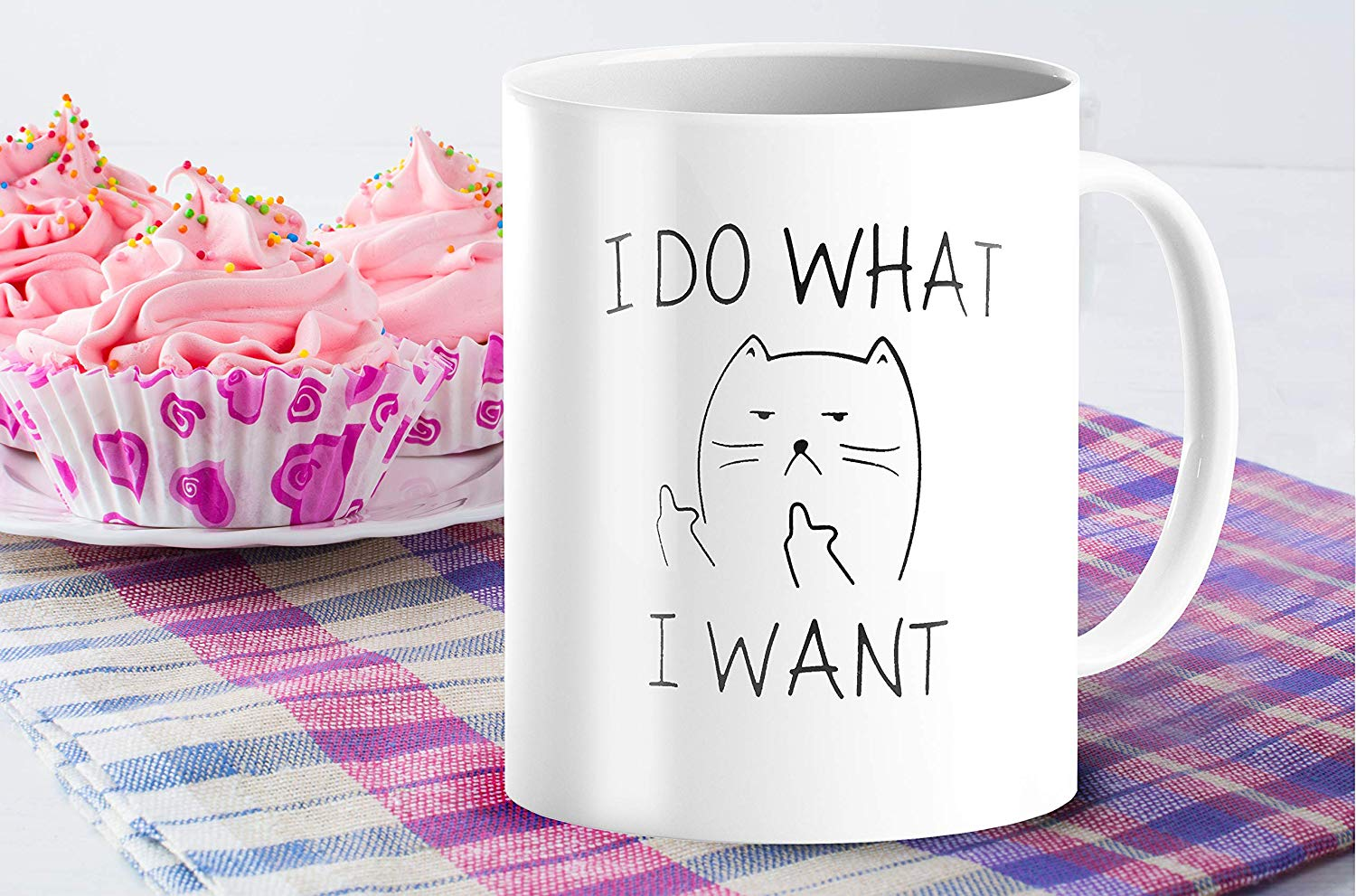 I Do What I Want Funny Coffee Mug Cat Middle Finger 11 Oz Birthday Gift For Men Women Him Or Her B079FX31TX 5