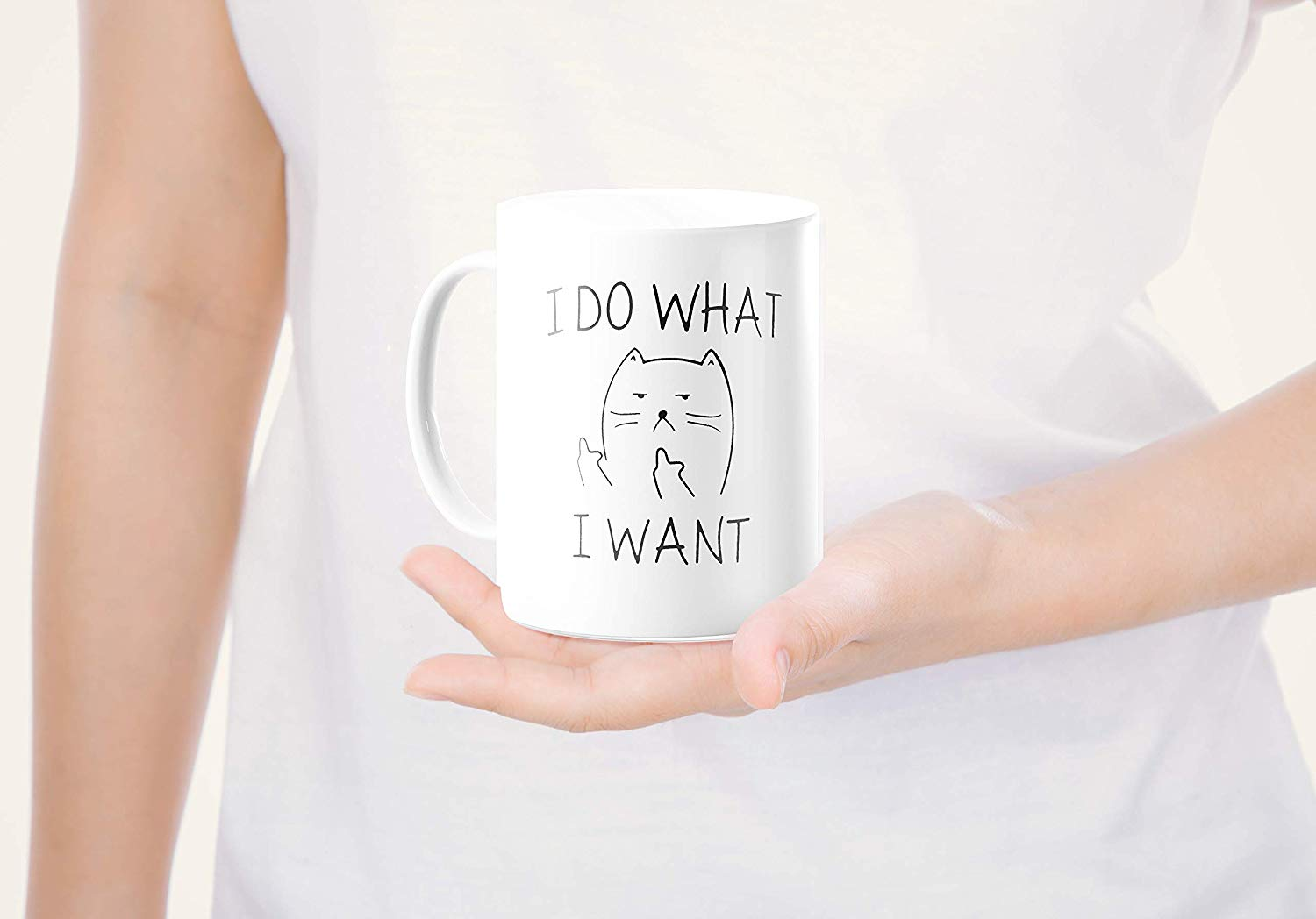 I Do What I Want Funny Coffee Mug Cat Middle Finger 11 Oz Birthday Gift For Men Women Him Or Her B079FX31TX 8