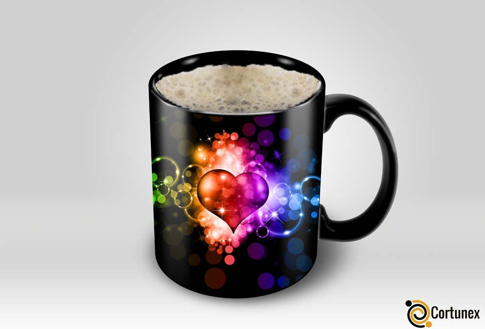 Magic Coffee Mugs Heat Sensitive Color Changing Coffee Mug Good Gift Mug Fancy Heart Design 11oz 100 Ceramic Black Mug B01N1XQ6SU 4