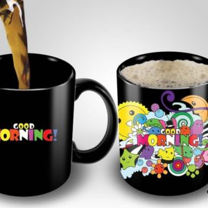 Magic Coffee Mugs Heat Sensitive Color Changing Coffee Mug Good Gift Mug Good Morning Crazy Design 11oz 100% Ceramic Black Mug