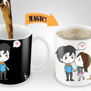 Magic Coffee Mugs Heat Sensitive Color Changing Coffee Mug Good Gift Mug Lovely Cartoon Couples Design 11oz 100% Ceramic Black Mug