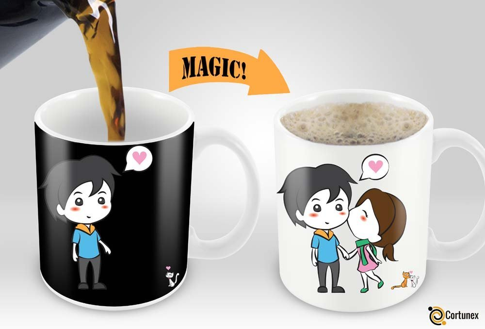 magic coffee mugs heat sensitive color changing coffee mug good gift mug lovely cartoon couples. Black Bedroom Furniture Sets. Home Design Ideas