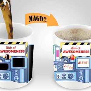 Magic Coffee Mugs Heat Sensitive Color Changing Coffee Mug Good Gift Mug Risk Of Awesomeness Design 11oz 100 Ceramic Bl B01NAO7MNB