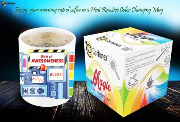 Magic Coffee Mugs Heat Sensitive Color Changing Coffee Mug Good Gift Mug Risk Of Awesomeness Design 11oz 100 Ceramic Bl B01NAO7MNB 3
