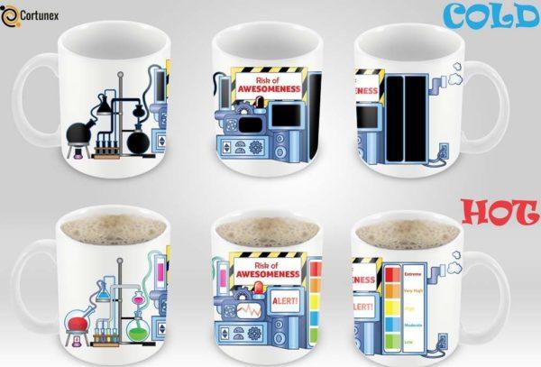 Magic Coffee Mugs Heat Sensitive Color Changing Coffee Mug Good Gift Mug Risk Of Awesomeness Design 11oz 100 Ceramic Bl B01NAO7MNB 4