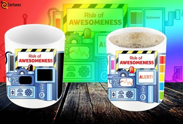 Magic Coffee Mugs Heat Sensitive Color Changing Coffee Mug Good Gift Mug Risk Of Awesomeness Design 11oz 100 Ceramic Bl B01NAO7MNB 6