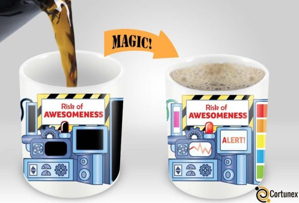 Magic Coffee Mugs Heat Sensitive Color Changing Coffee Mug Good Gift Mug Risk Of Awesomeness Design 11oz 100 Ceramic Bl B01NAO7MNB