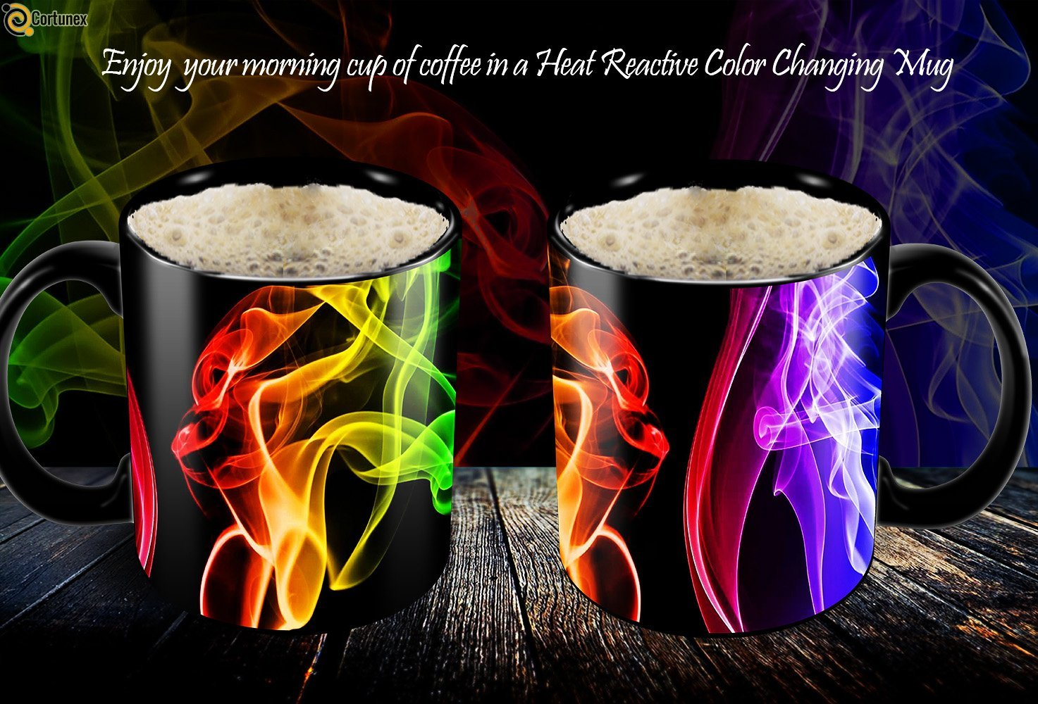 Magic Coffee Mugs Heat Sensitive Color Changing Coffee Mug Good Gift Mug Smoke Design 11oz Funny CoffeeTea Cup 100 B01MS2S8GC 3