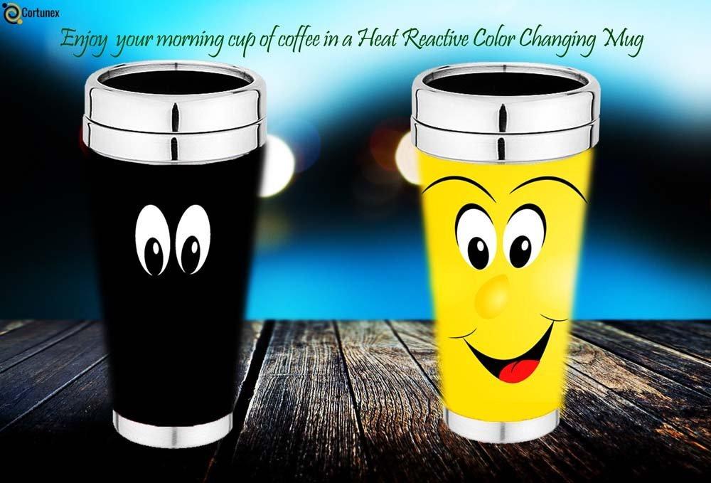 Magic Coffee Mugs Travel Mug Heat Sensitive Color Changing Stainless Steel Coffee Mug Good Gift Mug Funny Smiley Face Th B01N7NM81P 5
