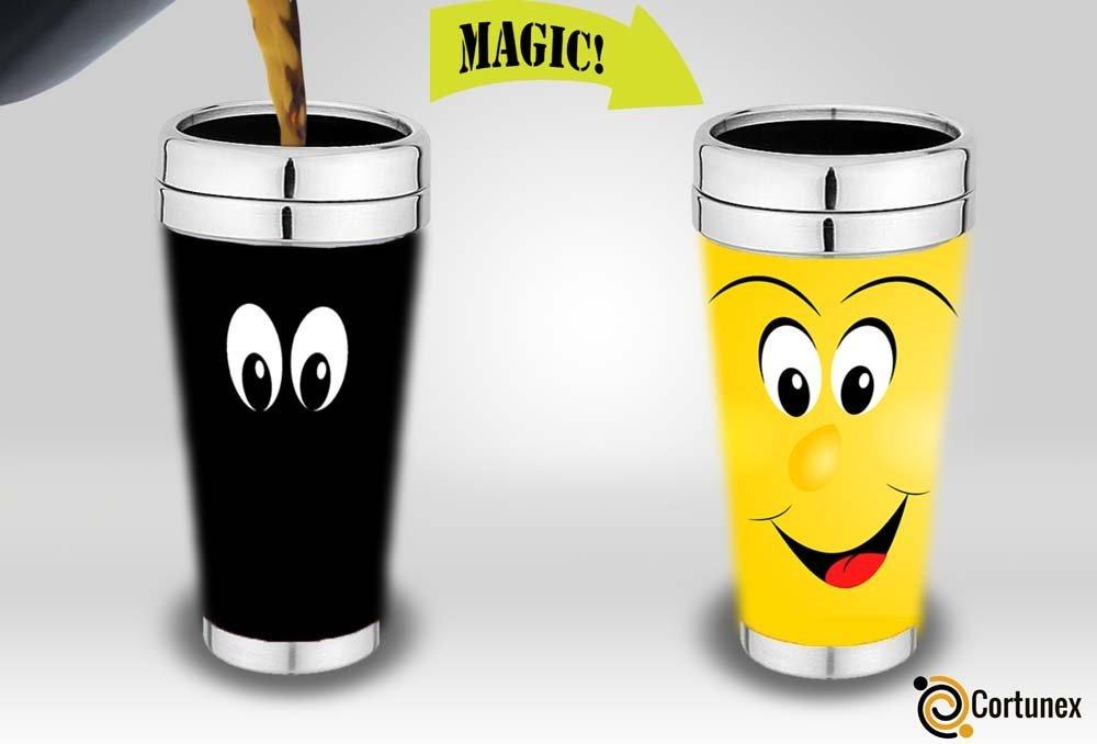Magic Coffee Mugs Travel Mug Heat Sensitive Color Changing Stainless Steel Coffee Mug Good Gift Mug Funny Smiley Face Thermos 16-ounce