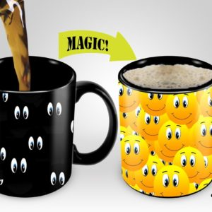Magic Coffee Mugs Travel Mug Heat Sensitive Color Changing Stainless Steel Coffee Mug Good Gift Mug Funny Smiley Thermos 16-ounce| Funny Coffee/Tea Travel Cup
