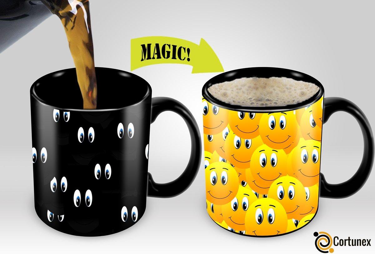 Magic Coffee Mugs Travel Mug Heat Sensitive Color Changing Stainless Steel Coffee Mug Good Gift Mug Funny Smiley Thermos B01MXRQDPU
