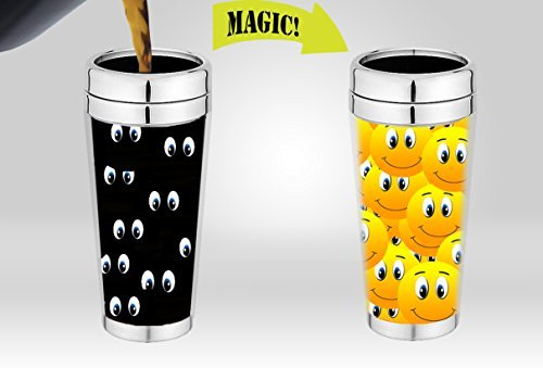Magic Travel Mug | Amazing New Heat Sensitive Color Changing Stainless Steel Coffee Mug , Good Unique Gift Idea | Funny Smiley Thermos | 16-ounce