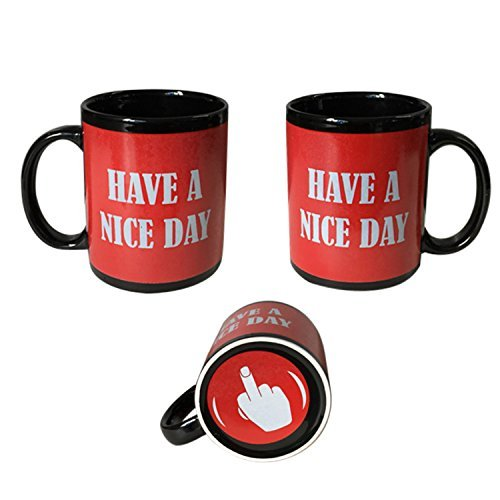 Red Have A Nice Day Coffee Mug | Middle Finger Funny Cup | 11oz 100% Ceramic Mug