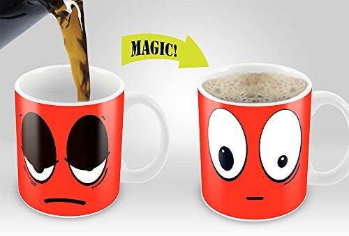 Red Wake Up Magic Mug | Amazing New Heat Sensitive Color Changing Coffee Mug , Good Unique Gift Idea | 11oz 100% Ceramic Mug
