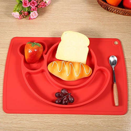 Snail Silicone Baby Placemat Square Red B071PBYVNK 2