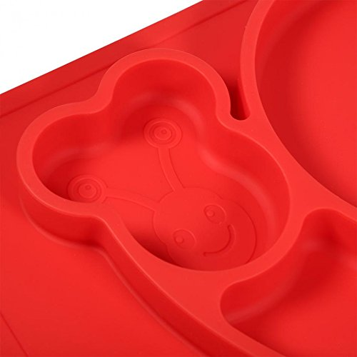 Snail Silicone Baby Placemat Square Red B071PBYVNK 3
