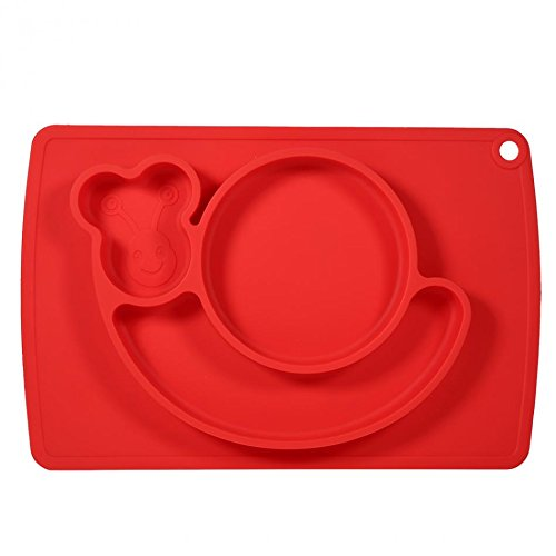 Snail Silicone Baby Placemat Square Red B071PBYVNK