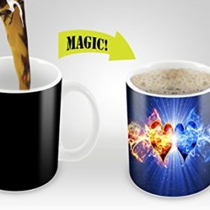 Magic Mugs | Amazing New Heat Sensitive Color Changing Coffee Mug , Good Unique Gift Idea | 2 Hearts Design