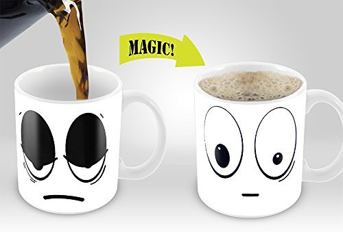 White Wake Up Magic Mug | Amazing New Heat Sensitive Color Changing Coffee Mug , Good Unique Gift Idea | 11oz 100% Ceramic Mug