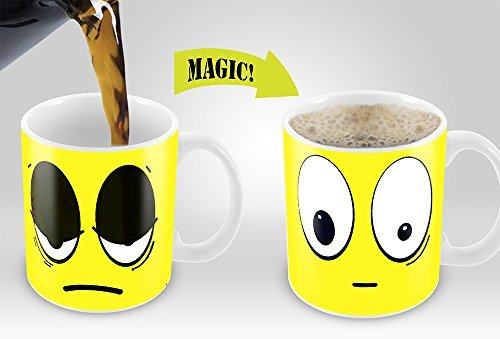 Yellow Wake Up Magic Mug Amazing New Heat Sensitive Color Changing Coffee Mug Good Unique Gift Idea 11oz 100 Cera B00UR7FJMA